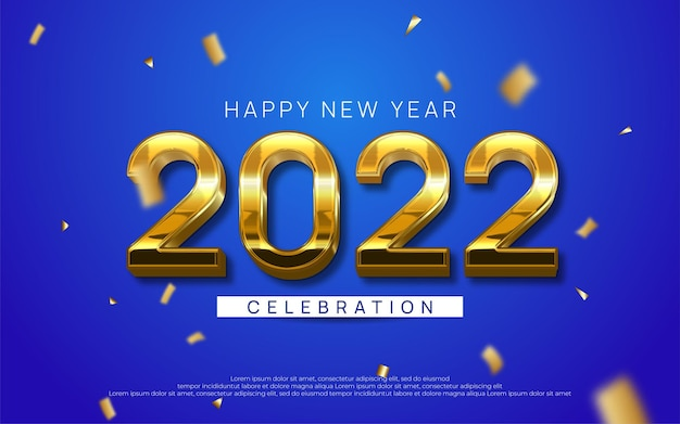 Happy new year editable text number 2022 with gold style 3d on blue background