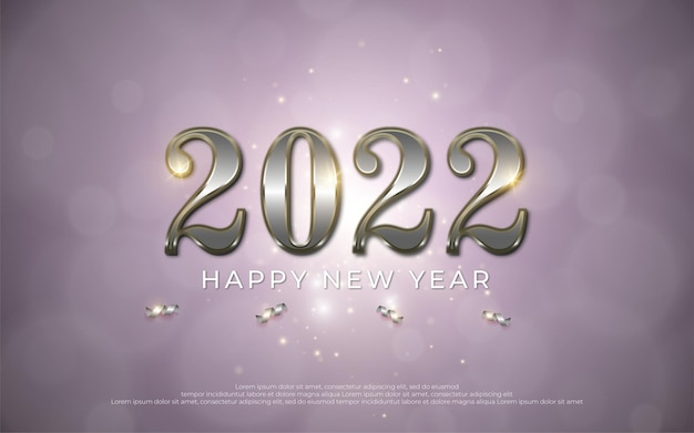 Happy new year editable text number 2022 with metal style 3d on gradient background