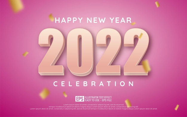 Happy new year editable text number 2022 with soft pink style 3d on magenta background