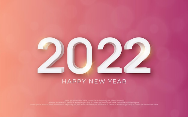 Happy new year editable text number 2022 with style 3d on gradient background