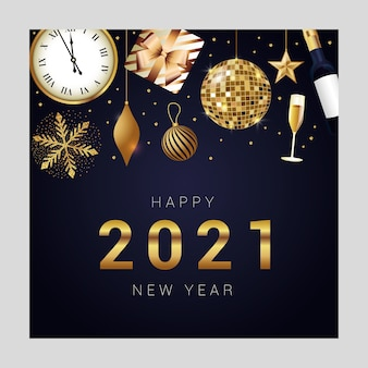 Happy new year elegant card with realistic celebration icons with number over dark background