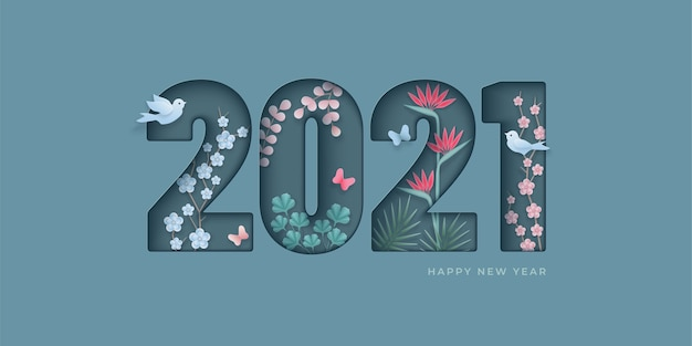 Happy new year elegant design. paper cut numeral with flowers, butterflies, birds