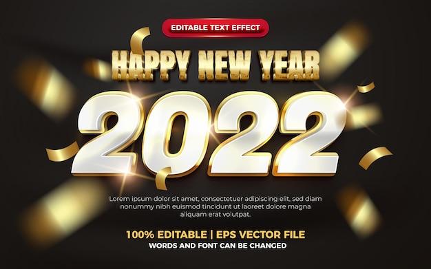 Happy new year elegant gold bold 3d editable text effect