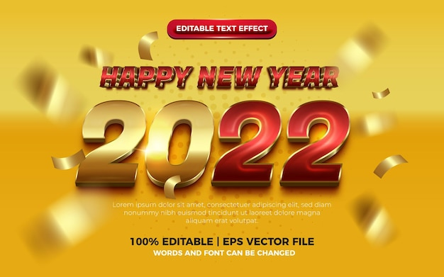 Happy new year elegant red gold bold 3d editable text effect on yellow background