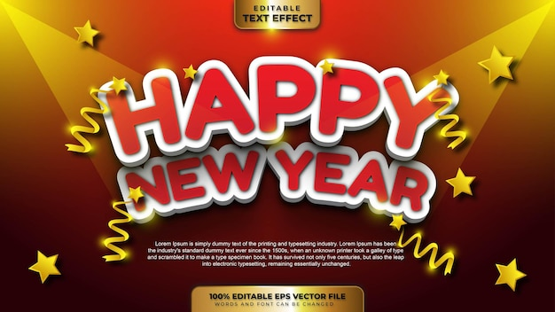 Happy new year elegant white red bold 3d editable text effect