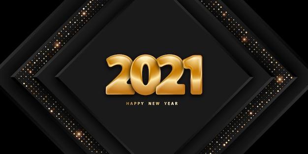 황금 번호와 함께 새 해 복 많이 받으세요 축제 검은 배경 프리미엄 벡터