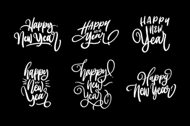 Happy new year festive event lettering design set