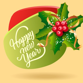 Happy new year festive flyer design. mistletoe berries