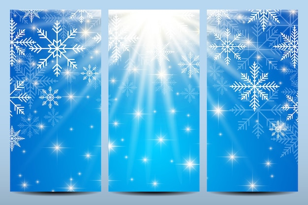 Happy new year flyers. blue background with snowflakes. modern design vector template.
