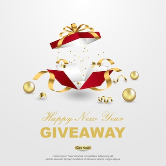 Happy new year giveaway with open gift box background.