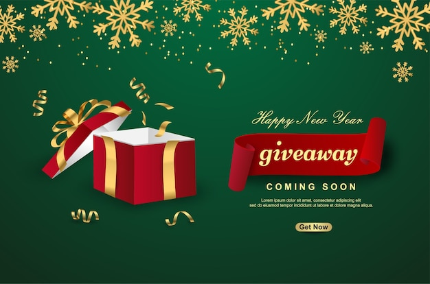 Happy new year giveaway with open gift box on green background.