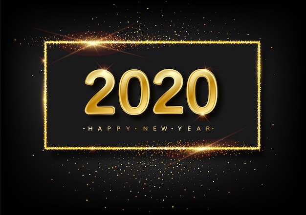 Happy new year  glitter gold fireworks.  golden glittering text and 2020 numbers with sparkle shine for holiday greeting card.