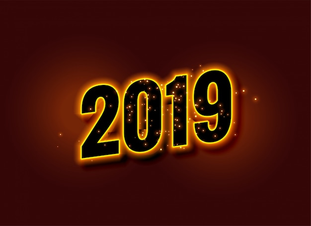 Happy new year glowing 2019 background