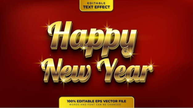Happy new year gold 3d editable text effect