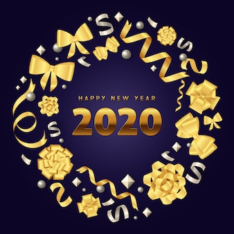 Happy new year gold christmas wreath on blue ground