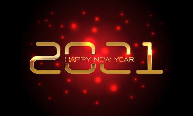 Happy new year  gold number and text on red light blur black  for countdown holiday festival celebration