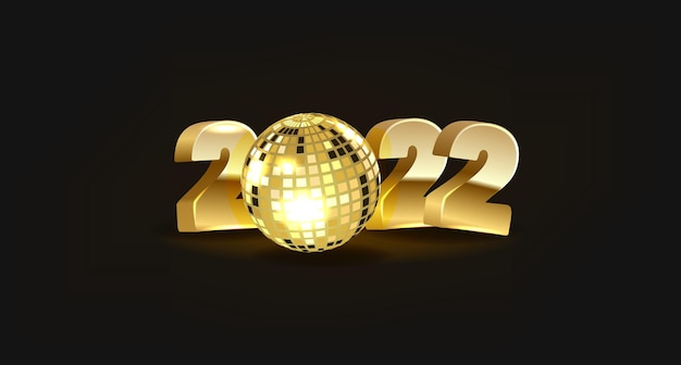 Happy new year gold numbers design of greeting card happy new year banner with numbers on dark