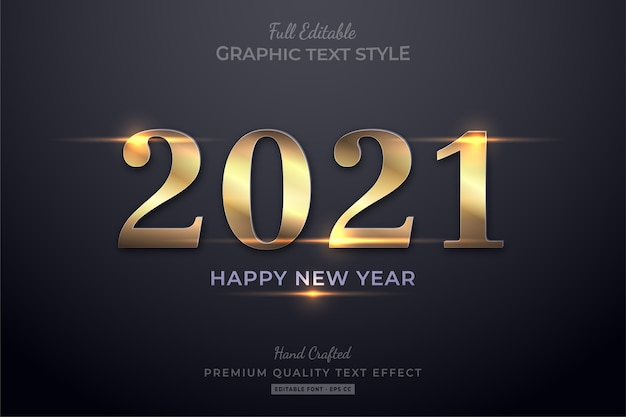 Happy new year gold shine editable text effect font style