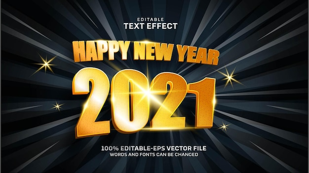 Happy new year gold text effect