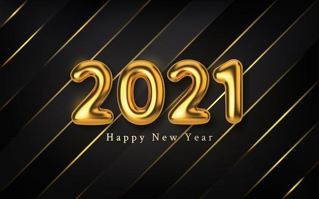새해 복 많이 받으세요. 황금 금속 숫자 비문.
