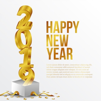 Happy new year golden number