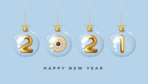 Happy new year golden realistic number background