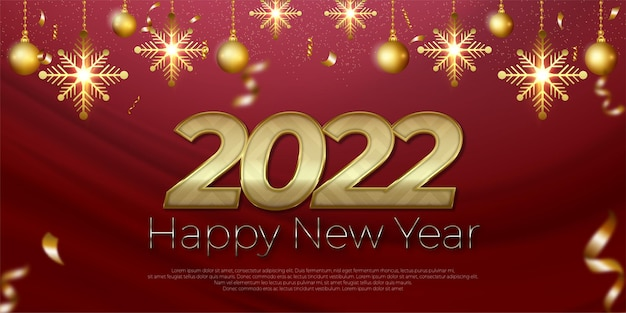 Happy new year golden text effect editable with christmas decoration