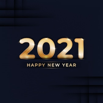 Happy new year golden text with abstract background design