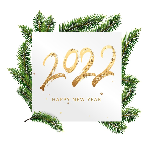 Happy new year golden text with bright sparkles on white card