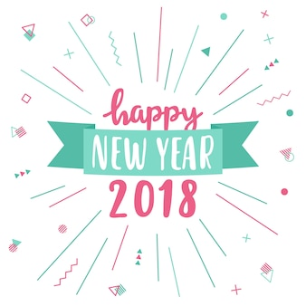 Happy new year greeting card 2018