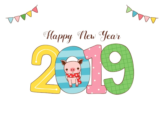 Happy new year greeting card 2019 with cute pig in flat style