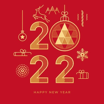 Happy new year greeting card abstract golden flat line icons isolated on red background vector