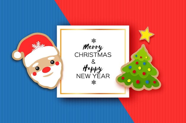 Happy new year greeting card. christmas santa and christmas tree. winter holidays .