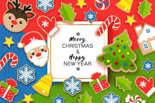 Happy new year greeting card. christmas santa,tree, bell, gift, deer, snowflakes, lollipop, holly. christmas gingerbread paper cut style. winter holidays
