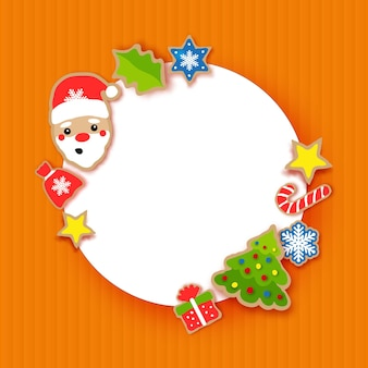 Happy new year greeting card. christmas santa,tree,gift, snowflakes, lollipop. christmas gingerbread paper cut style. circle frame. winter holidays.