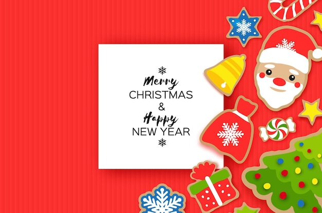 Happy new year greeting card. christmas santa,tree,gift, snowflakes, lollipop. christmas gingerbread paper cut style. rectangle frame. winter holidays. red.