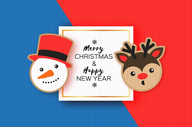 Happy new year greeting card. christmas snowman and deer. christmas gingerbread paper cut style winter holidays