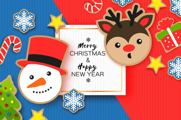 Happy new year greeting card. christmas snowman ,tree, bell, gift, deer, snowflakes,holly. christmas gingerbread paper cut style winter holidays