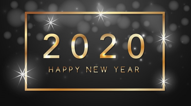 Happy new year greeting card design for 2020