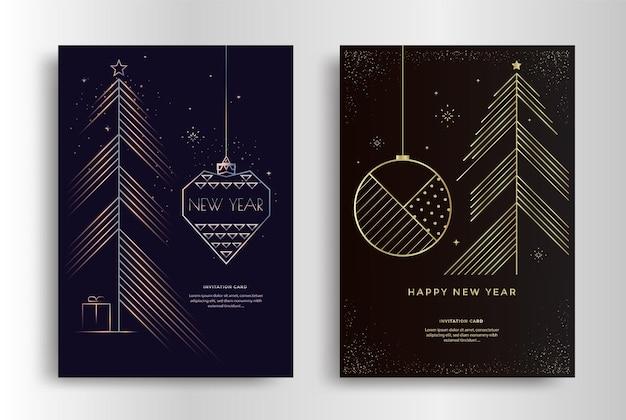 С новым годом дизайн поздравительной открытки с елкой счастливого рождества золотая линия иллюстрации