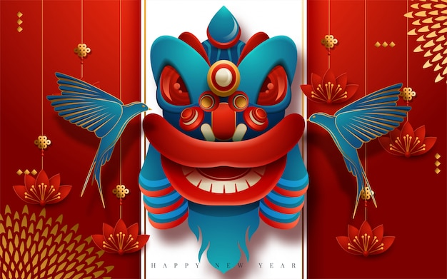 Happy new year greeting card design with hanging lanterns and swallows. translation : happy new year. vector illustration