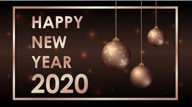 Happy new year greeting card design with ornaments