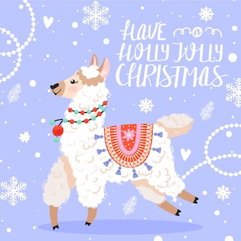 Happy new year greeting card. llama with christmas decorations.