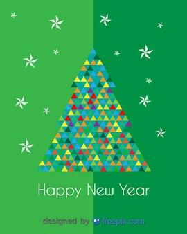 다채로운 삼각형으로 끝나는 크리스마스 트리의 새해 복 많이 인사말 카드