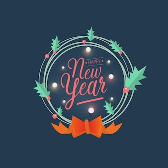Happy new year greeting card typography flyer template