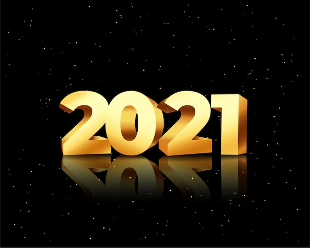 Happy new year greeting card with 2021 golden numbers on black