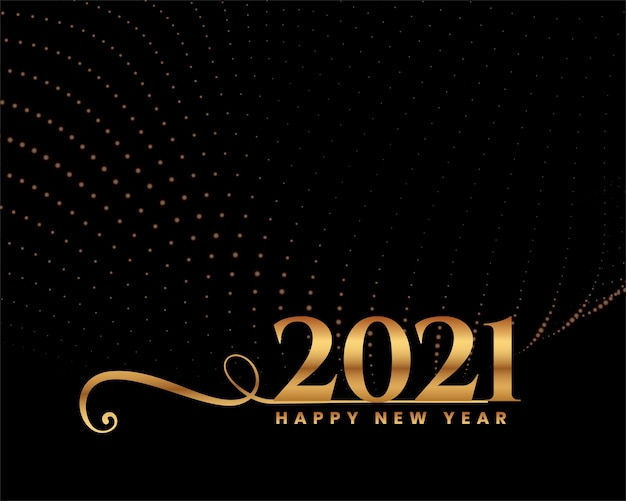Happy new year greeting card with 2021 golden numbers and sparkles