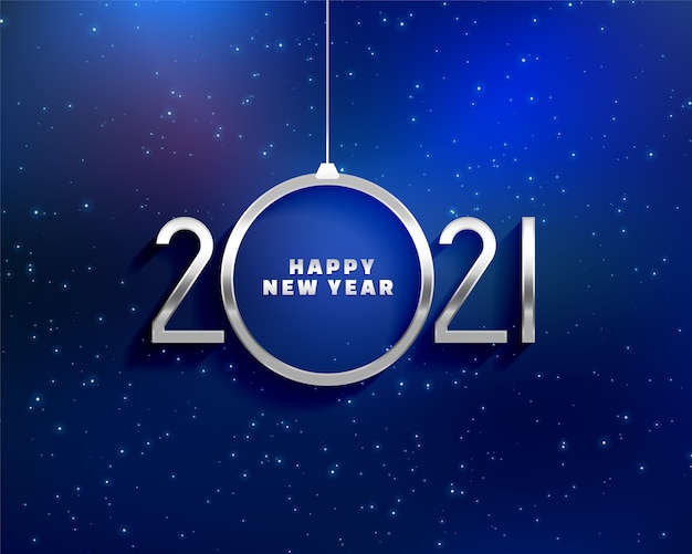Happy new year greeting card with 2021 metals numbers and a shape of christmas ball