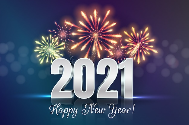 Happy new year greeting card with 2021 numbers and fireworks series.