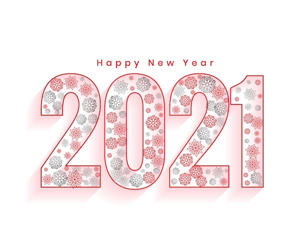 雪片で作られた2021番号の新年あけましておめでとうございますグリーティングカード
